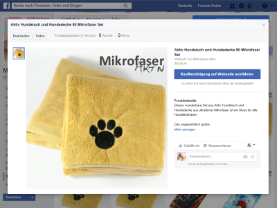 Mikrofaser-Aktiv Facebook-Shop