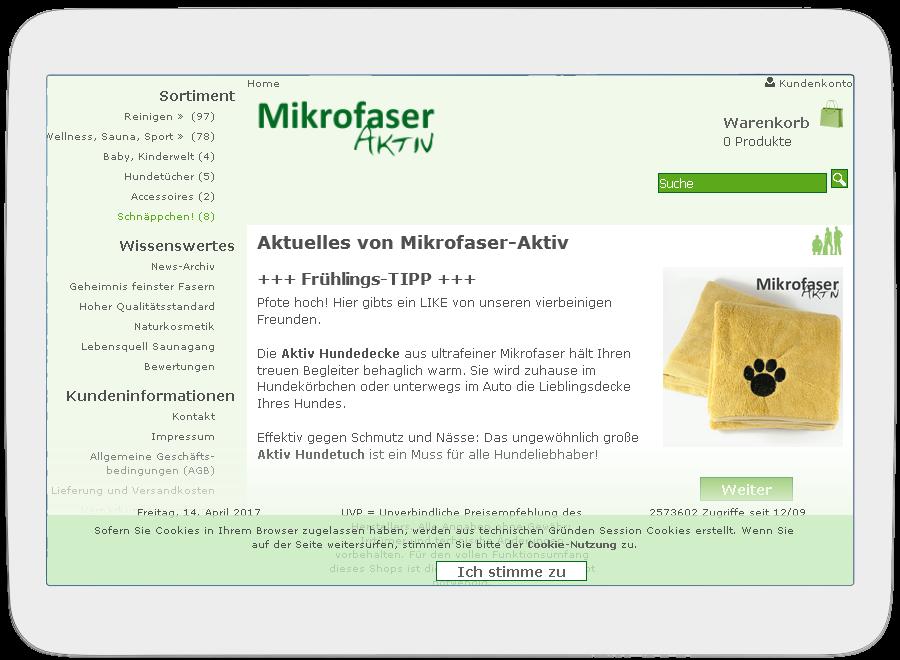 Mikrofaser-Aktiv auf Tablet
