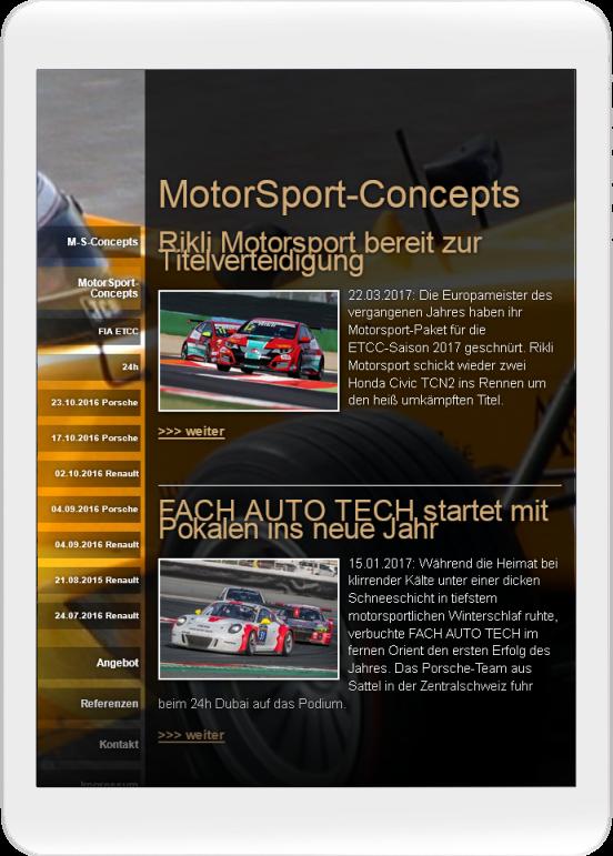 MotorSport-Concepts.de auf kleinem Tablet
